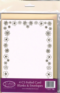 4 x A5 / C5 Foiled Gold Flowers On Ivory Card Blanks & Envelopes